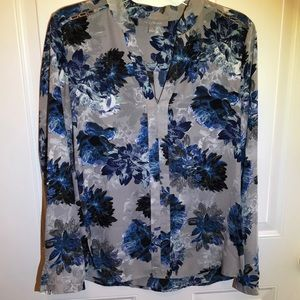 Blue and Slate Floral Blouse